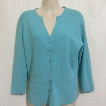 Talbots Womens Sweater Size Small Blue 3/4 Length Sleeves V-Neck Rayon B... - $19.79