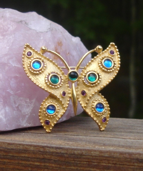 Vintage Trifari TM Butterfly Brooch, Aqua Green Purple Blue Jelly Cabochons
