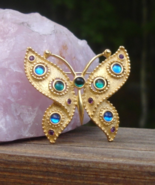 Vintage Trifari TM Butterfly Brooch, Aqua Green Purple Blue Jelly Cabochons - $345.00