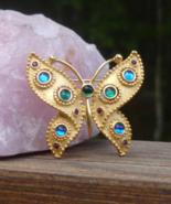 Vintage Trifari TM Butterfly Brooch, Aqua Green Purple Blue Jelly Cabochons - $349.00