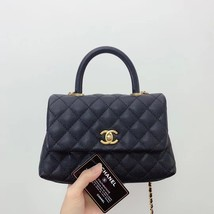 100% AUTH CHANEL SMALL COCO HANDLE BAG BLACK CAVIAR GHW