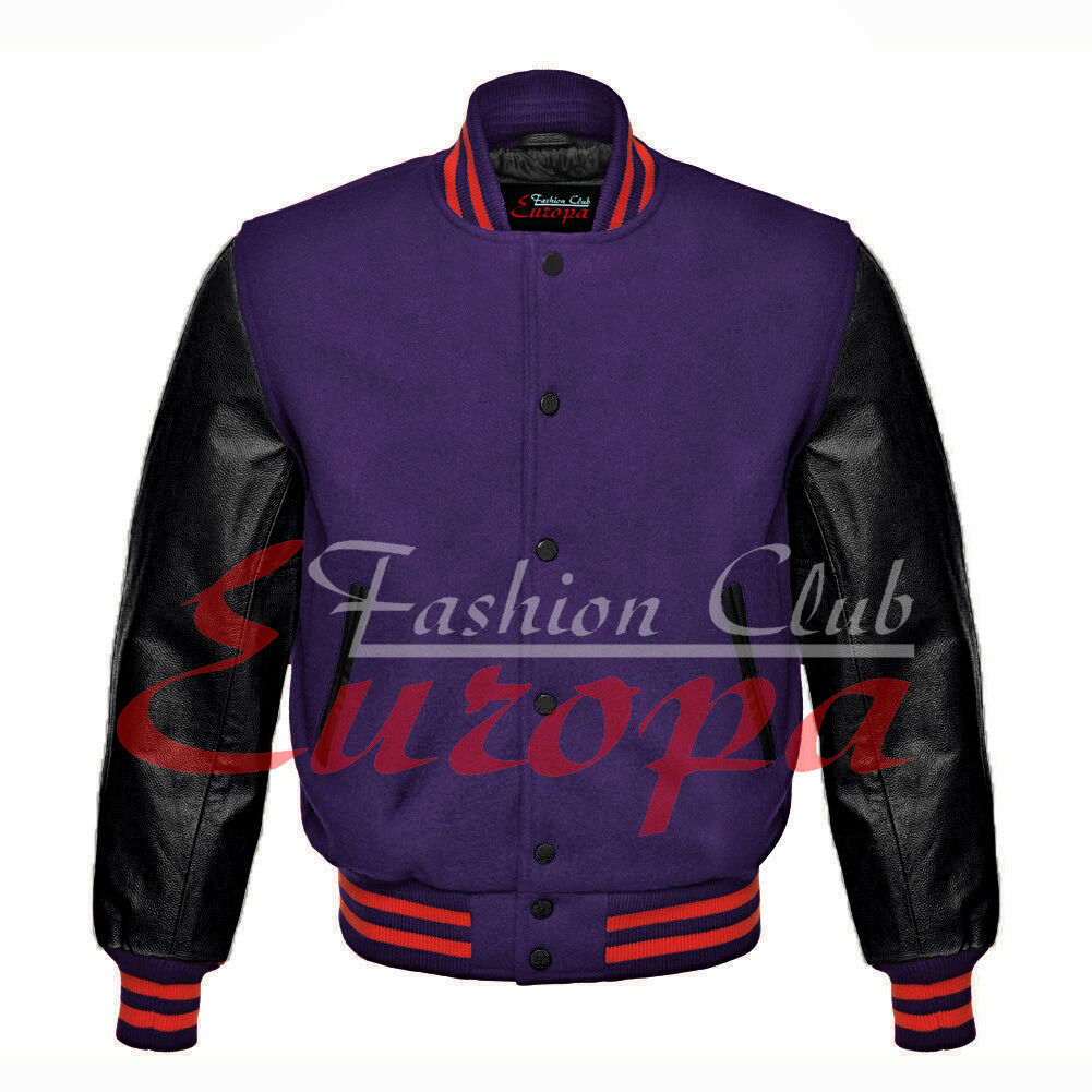 Primary image for American Unisex Black Real Leather Sleeves Letterman College Varsity Wool Jacket