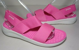 Crocs Size 8 Literide Stretch Electric Pink White Sandals New Womens Shoes - $64.35