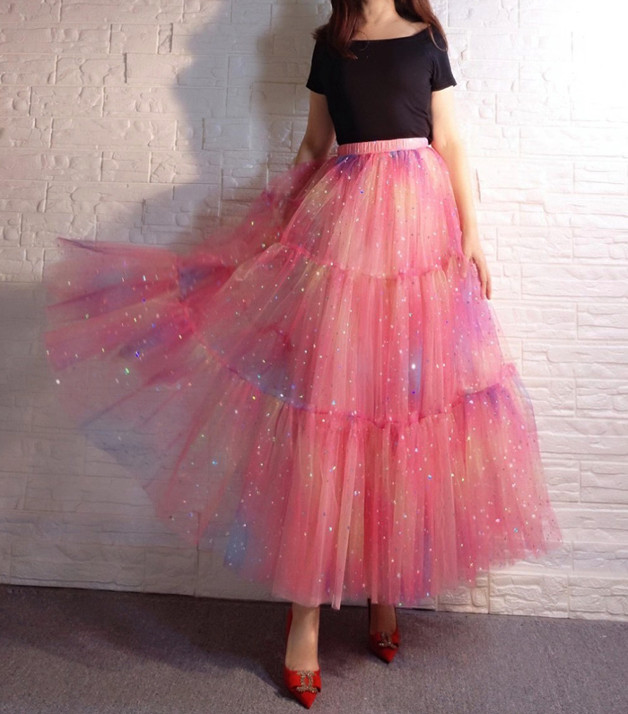 Rainbow Color Long Tulle Skirt Tiered Tutu Skirt Outfit Plus Size Layered Skirt
