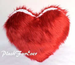 "18"" x 18"" Red Heart Shape Pillow Shaggy Faux Fur Rug Valentine Gift w/ I... - $65.55"