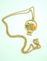 Vintage Avon necklace Flower Basket Floral Boho  - $11.86