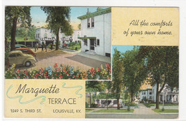 Marquette Terrace Court Motel Louisville Kentucky 1939 postcard - $5.94