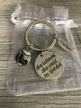 Softball Keychain, Softball Fastpitch Jewelry, She believed She Could Ke... - $9.99