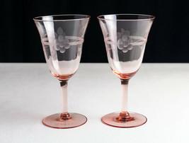 Tiffin Pink May Goblets Set 2 Elegant Depression Wheel Cut Floral & Line... - $34.92