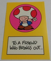 "Vintage Super Mario Brothers Greeting Card Nintendo 1989 Toad ""Brings Ou... - $9.99"