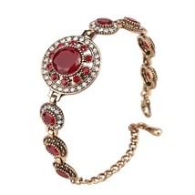 Bohemian Bracelets Women Tibetan Alloy Red Resin Gold Color Bangle Retro... - $11.32