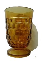 """Vintage Amber Indiana Whitehall Colony Footed Juice Glass 3 3/4"""" Tall - $4.90"""
