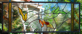 Stained Glass Window Leaves rust taupe cypress green gold - $129.00