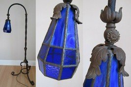 STAINED GLASS FLOOR LAMP antique COBALT BLUE adjustable arts crafts CAST... - $924.99