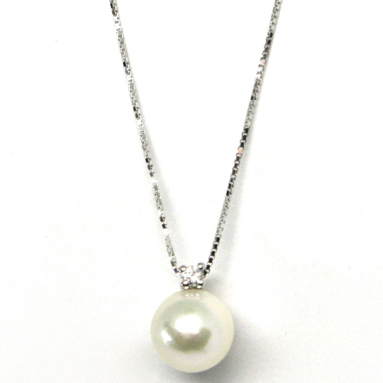 18K WHITE GOLD NECKLACE AKOYA PEARL 7.5 MM AND DIAMOND, PENDANT & VENETIAN CHAIN