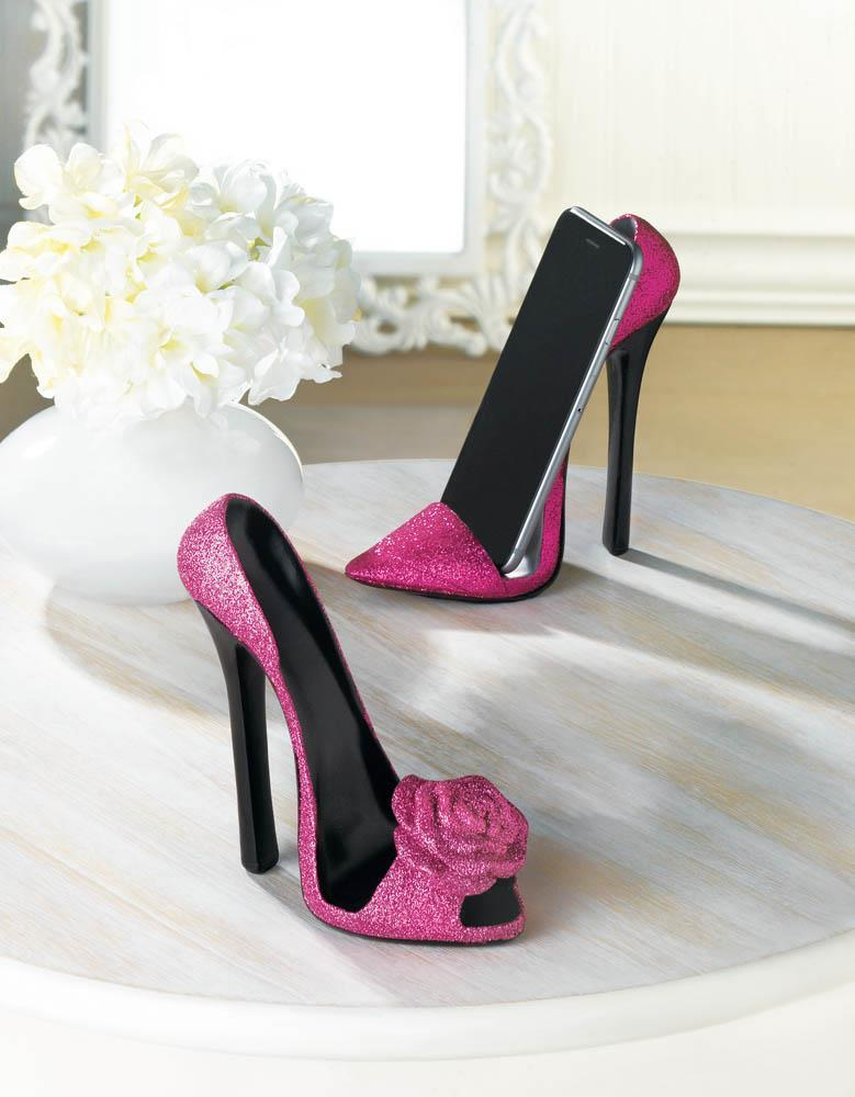 PINK SHOE PHONE HOLDER Chic High Heel Mobile Cell Stand Gift