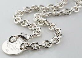 "Tiffany & Co. Sterling Silver ""Return to"" Oval Tag Necklace 15.5"" Ret - $346.77"