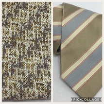 Missoni Tie Lot of 2 Neckties Brown Silk Cotton Striped Square Tip - $49.99