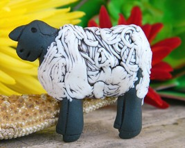 Vintage Jude Holdsworth Sheep Lamb Figural Brooch Pin Pottery Clay - $24.95
