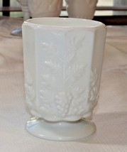 "Milk Glass Footed Goblet 3"" X 4.25"" Westmoreland Grape Vine Pattern Vint... - $17.81"