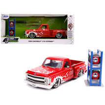 1969 Chevrolet C10 Stepside Pickup Truck Red with White Flames with Extr... - $44.11