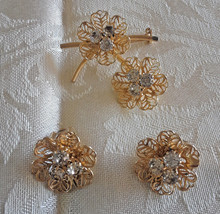 Vintage Filigree Flower Rhinestone Gold Tone Brooch & Clip Earrings Set - $14.25