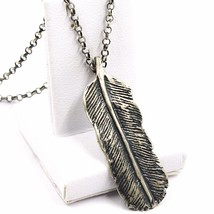 Necklace and Pendant, Silver 925, Burnished Satin, Feather, Rolo Chain image 1