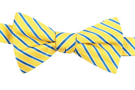 NEW MENS TOMMY HILFIGER SMALL STRIPE YELLOW PRE-TIED BOW TIE - $19.79