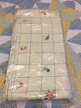 Antique Hand embroidered flower tablecloth with matching six napkins - $44.55