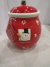 Hallmark Snowman Merry Days Red Christmas Cookie Jar with Lid Brand New ... - $24.99