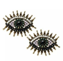Crystal Evil Eye Sparkle Post Earrings Zara Styled Cute Vintage - $21.34