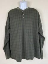 Vintage L.L. Bean Men Size XL Green Check Shirt Long Sleeve Henley USA Made - $27.00