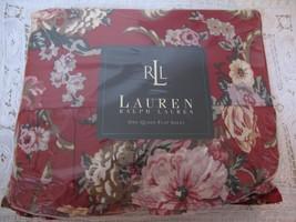 NEW Ralph Lauren Marseilles Floral Queen Flat Sheet Red 100% Cotton 200 ... - $37.39