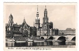 Germany Dresden RPPC Friedrich August Bridge Elbe River Boats Palace Pos... - $9.95