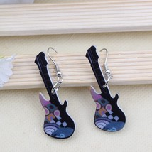 1 pair guitar cute lovely printing drop earrings acrylic new design spri... - $9.17