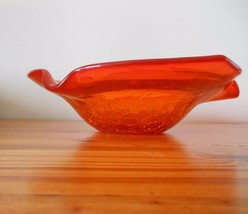 50s 60s MCM Viking Crackle Ash Tray Tangerine Orange Handcrafted Art Glass - $39.59