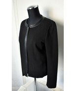 Lafayette 148 New York Black Leather Trim Zip Front Lined Jacket - Women... - $66.45