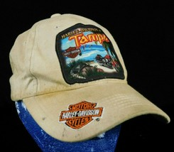 Harley Davidson Tampa Beige Baseball Cap Hat Dirty Loop Hook Adjustment ... - $44.99