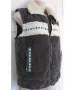 BB Dakota Gray FULL Zip Collard Vest SHEEP SKIN COLLAR Size Large - $12.19