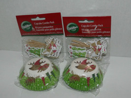 2 Packs Wilton Cupcake Combo Liners & Decorations Reindeer 24 Cups & Pic... - $8.90