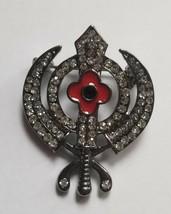 Stunning Diamonte Black Affect SIKH Rememberance Day Poppy Khanda Brooch... - $8.52