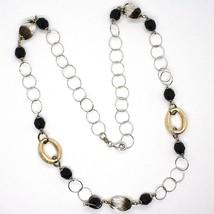 925 Silber Halskette, Ovale Satin Gelb, Nuggets Zweifarbig, Kette Rolo, 60 CM image 1