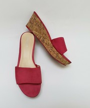 Nine West Womens Shoes Sandals Cork Wedge 1 Strap Slip On Pink Size US 7.5 M - $34.60