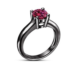 Pink Sapphire 10k Black Gold Plated 925 Sterling Silver Solitaire Wedding Ring - $71.88