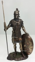 ANCIENT TIMES ROMAN LEGION SOLDIER W/ JAVELIN ROUND SHIELD Statue Bronze... - $65.25