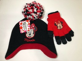 Winking Minnie Mouse Hat and Gloves Walt Disney Fleece Lined Stretch Knit - $14.84