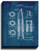 Clarinet Barrel Patent Print Midnight Blue on Canvas - $39.95+