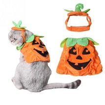 Pet Halloween Pumkin Costume Adjustable Hat Puppy Cat Clothes Party Appa... - $10.48