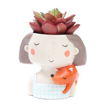 Succulent Plant Pot Cute Girl Planter Flowerpot Create Design Garden Hom... - $16.85