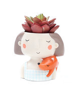 Succulent Plant Pot Cute Girl Planter Flowerpot Create Design Garden Hom... - $21.29 CAD